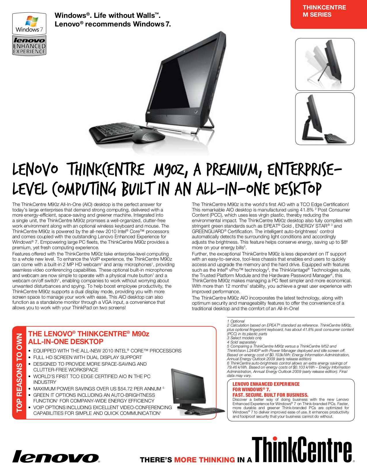 pdf for Lenovo Desktop ThinkCentre M90z 3429 manual