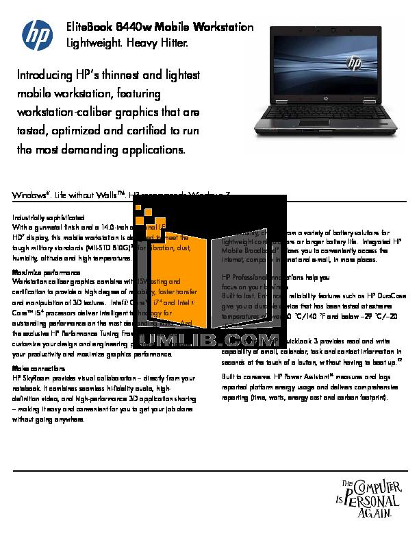 pdf for HP Laptop EliteBook 8440w manual