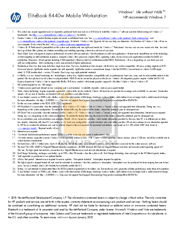 HP Laptop EliteBook 8440w pdf page preview