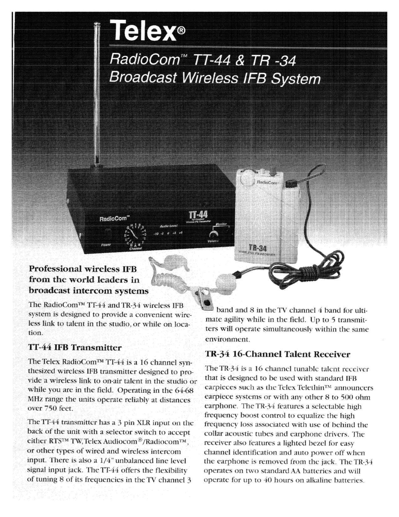 Download free pdf for Telex TT44 Wireless IFB System Other manual