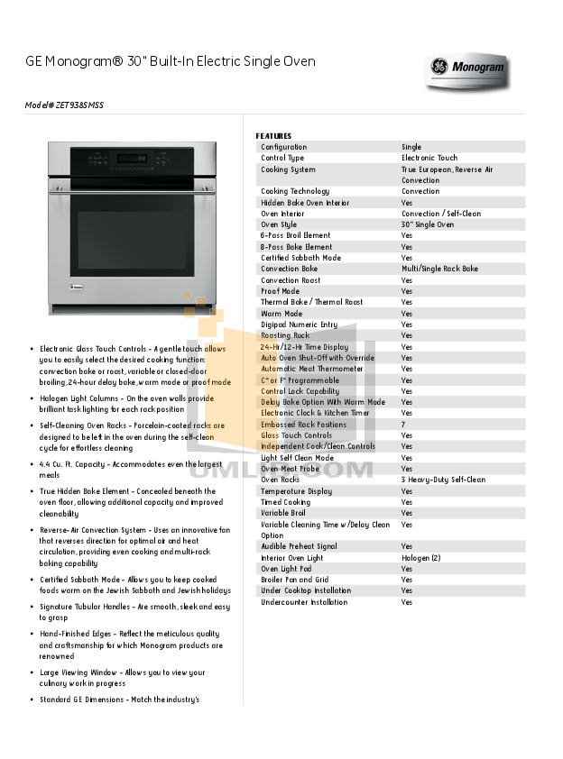 Download Free Pdf For Ge Monogram Zet938smss Oven Manual Manual Guide