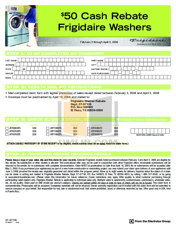 pdf for Frigidaire Washer ATF7000FG manual