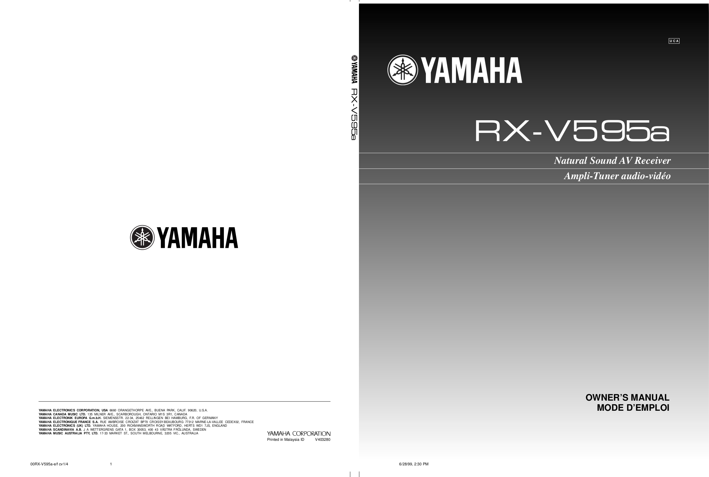 download free pdf for yamaha rx v595 receiver manual rh umlib com yamaha rx v 595 service manual yamaha rx-v595 owner's manual