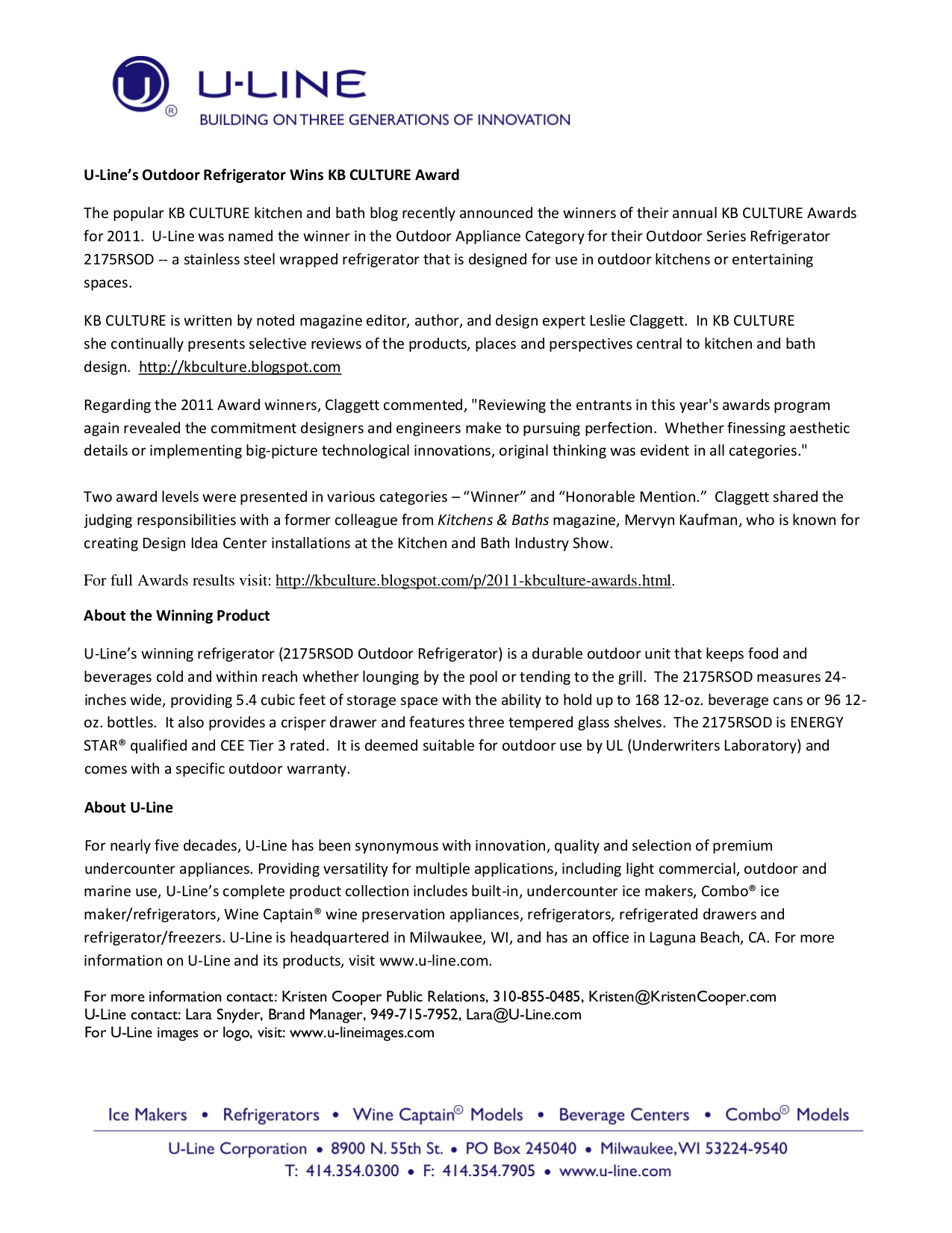 pdf for U-Line Refrigerator 2175RSOD manual