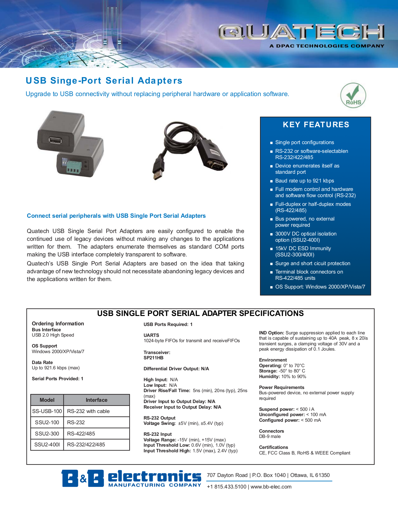 pdf for Quatech Other SS-USB-100 Adapters manual