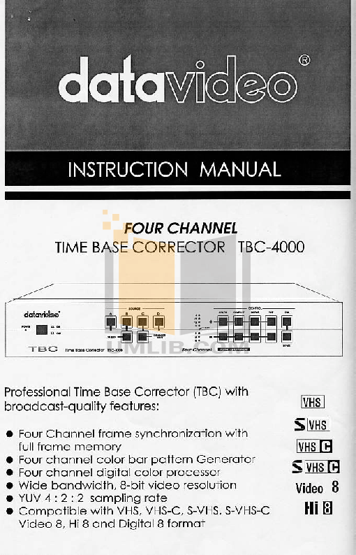 pdf for Datavideo Other TBC-4000 Time Base Correctors manual