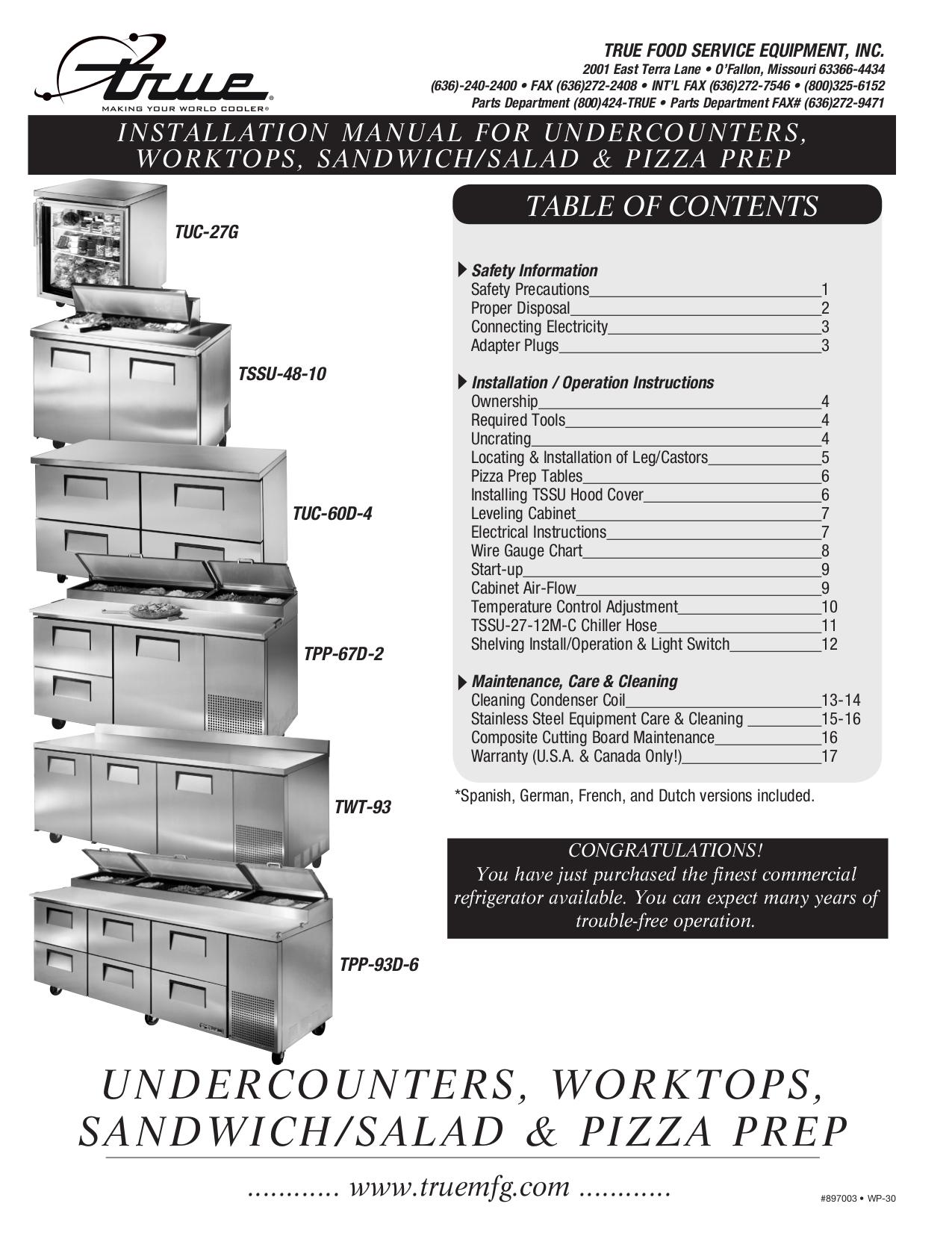 TSSU_Manual.pdf 0 download free pdf for true tuc 27 refrigerator manual true tuc-48 wiring diagram at cos-gaming.co