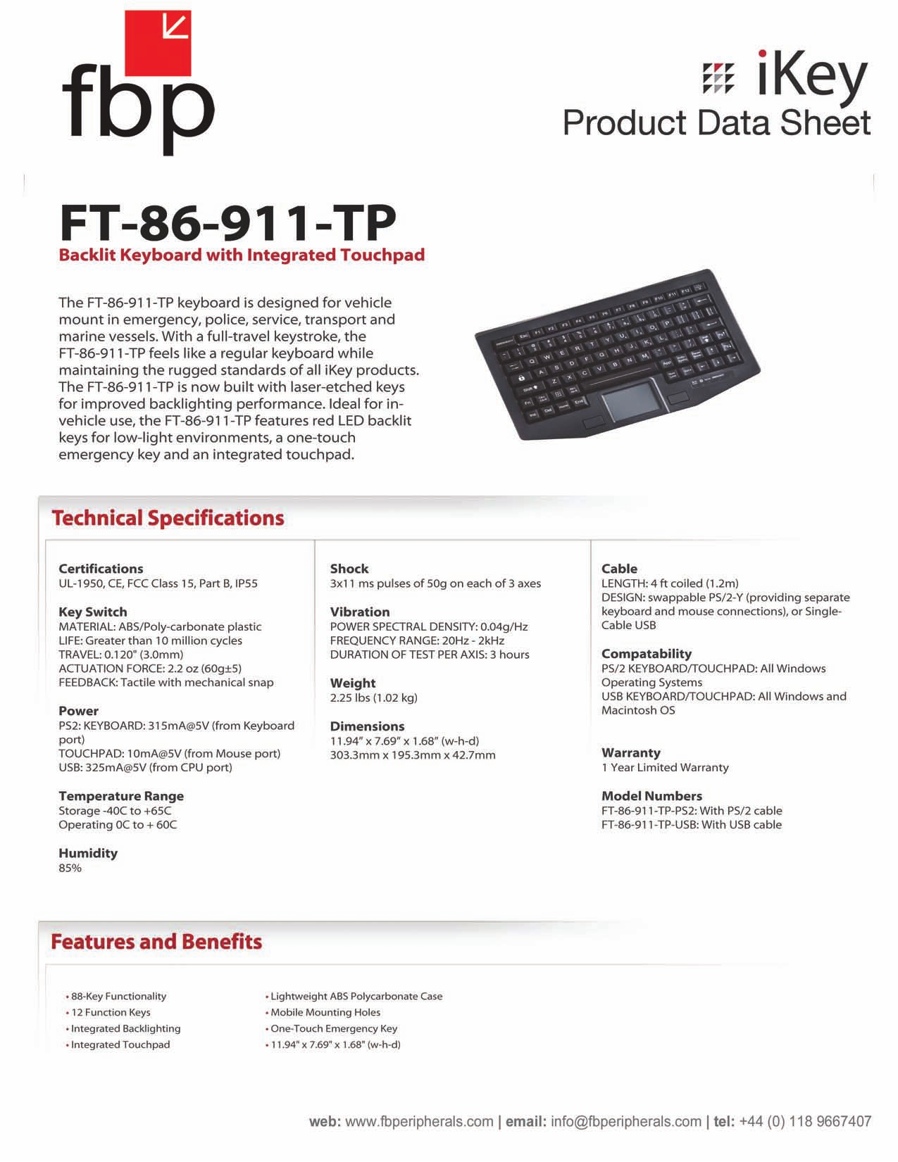 iKey Keyboard FT-86-911 pdf page preview