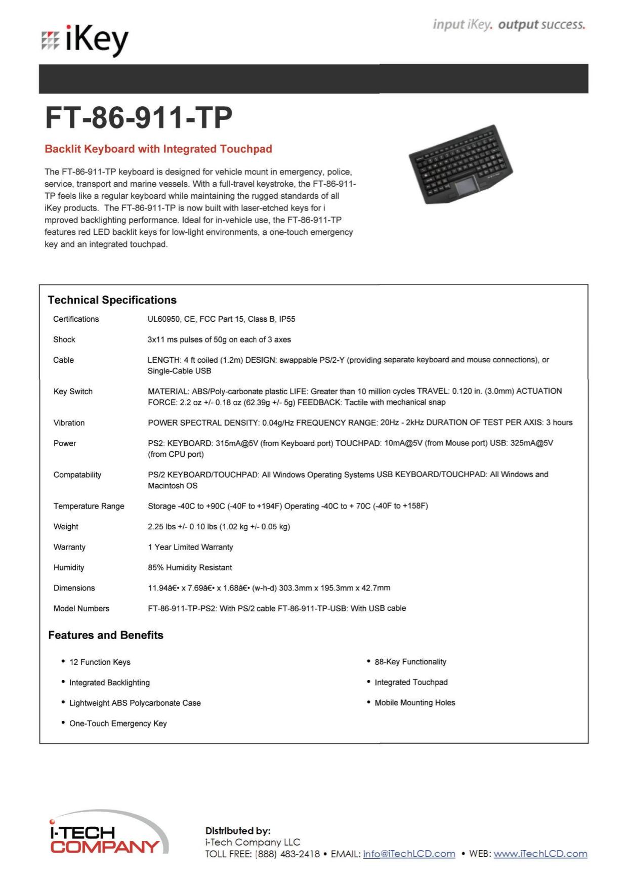 pdf for iKey Keyboard FT-86-911 manual