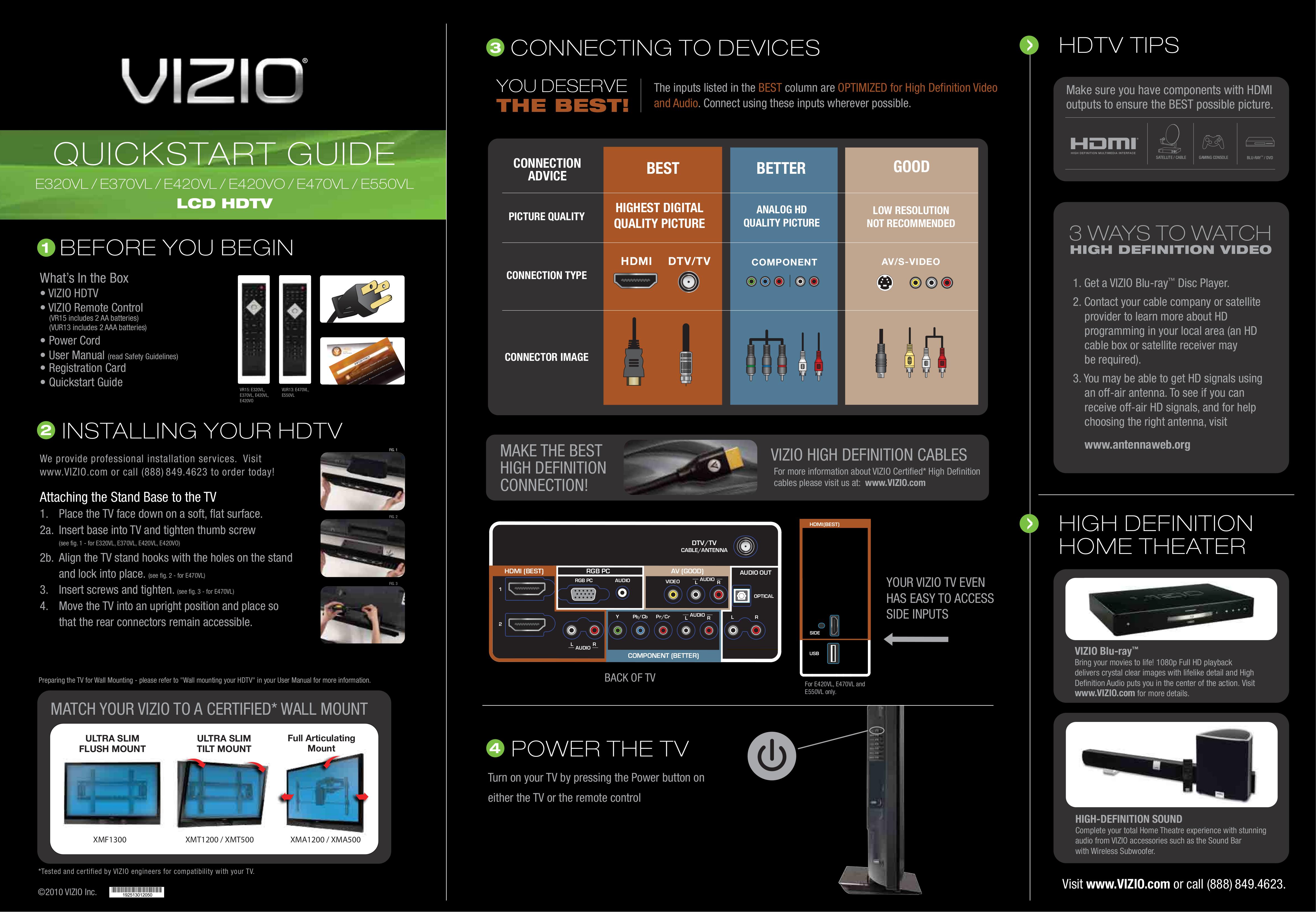 Download free pdf for Vizio E550VL TV manual