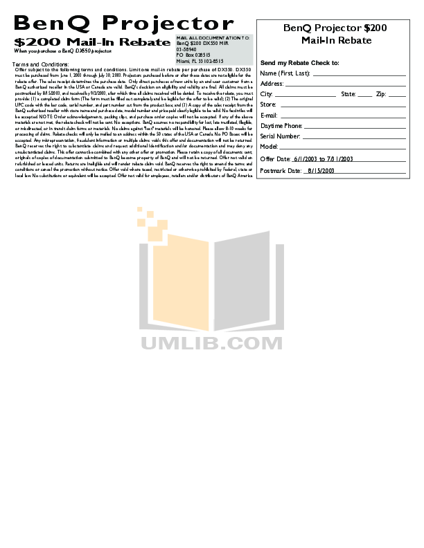 Benq Projector DX550 pdf page preview