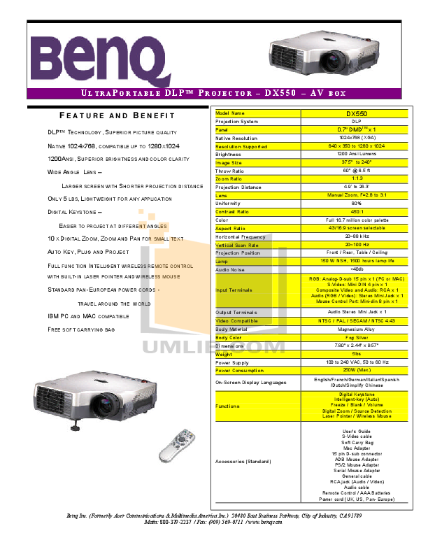 pdf for Benq Projector DX550 manual