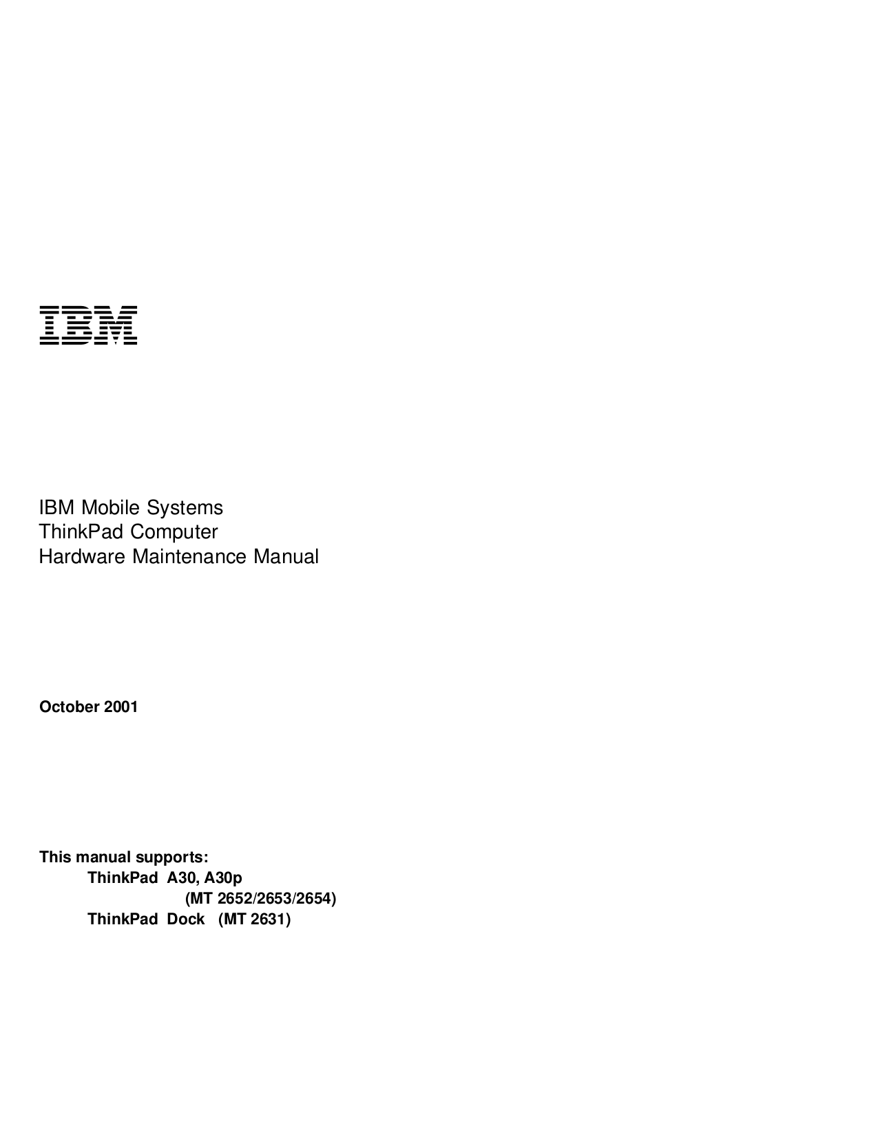pdf for IBM Laptop ThinkPad A30p manual