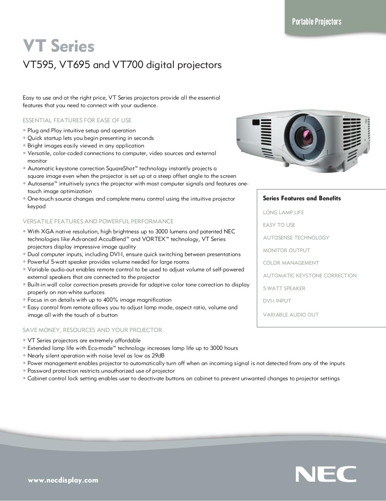 download free pdf for nec vt695 monitor manual rh umlib com Reset NEC VT695 Lamp NEC VT695 Review