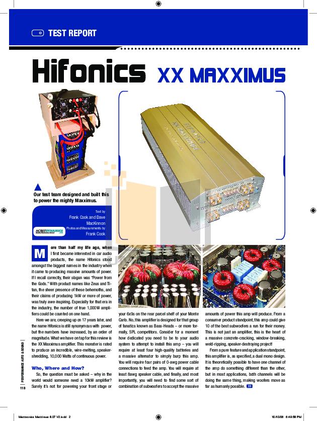 pdf for Hifonics Car Amplifier XXV XXV Maxximus manual