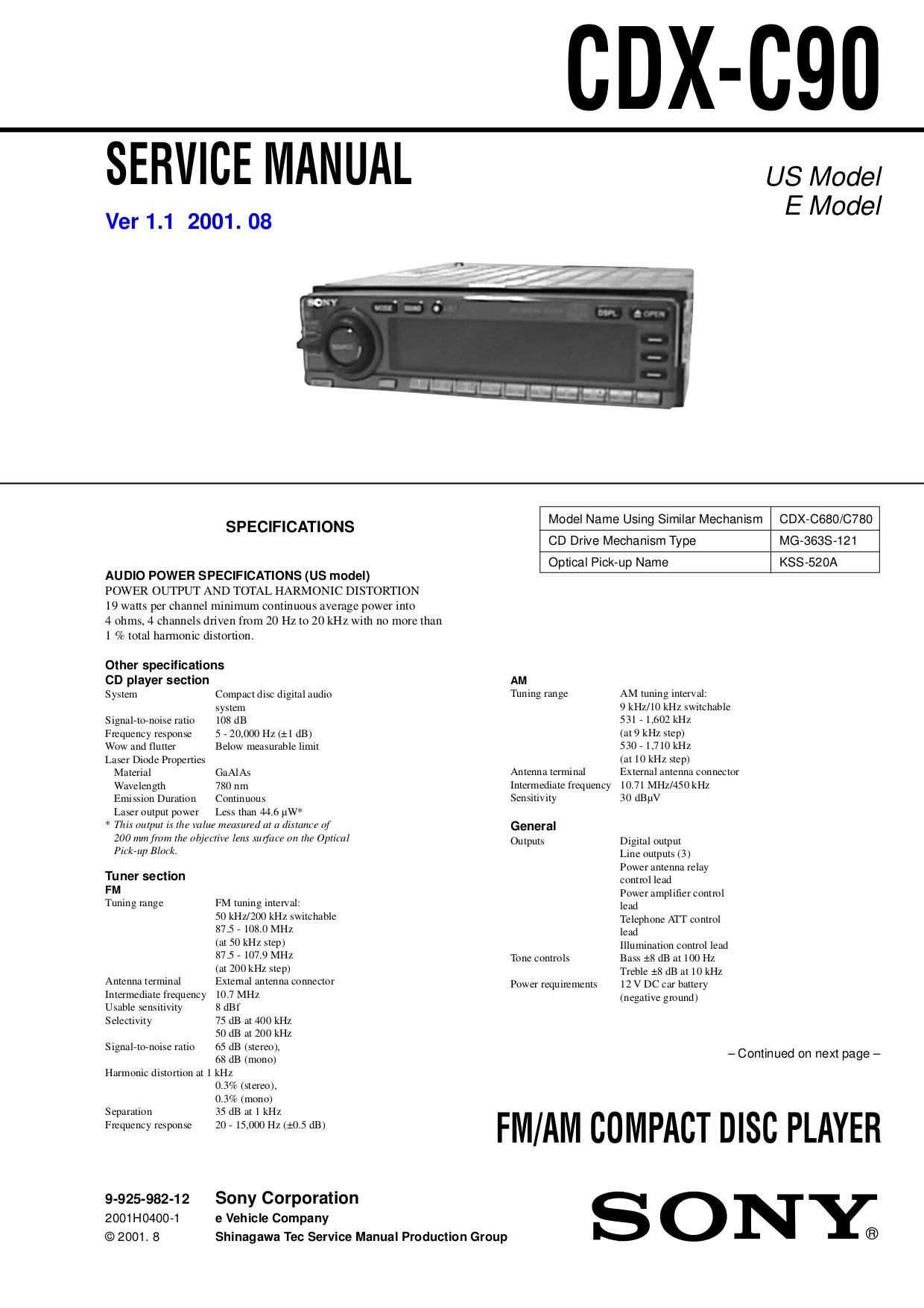Bestseller  Sony Xplod 52wx4 Manual Download