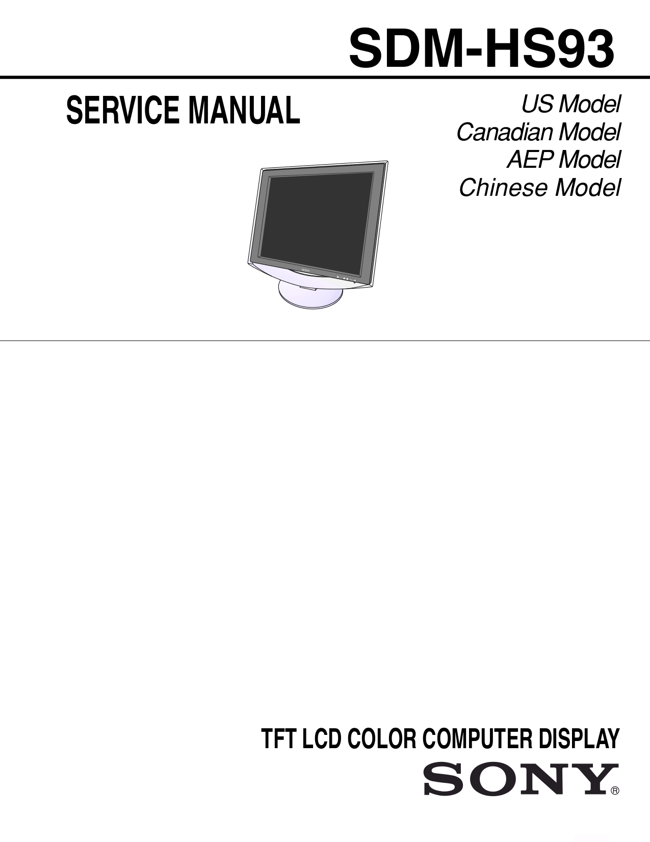 pdf for Sony Monitor SDM-HS93 manual