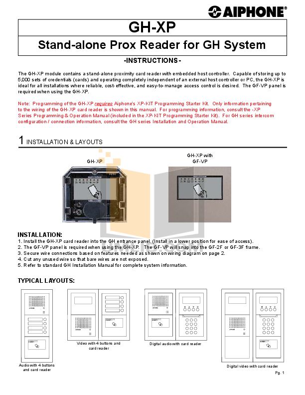 pdf for Aiphone Other PG-3 Intercoms-Accessory manual