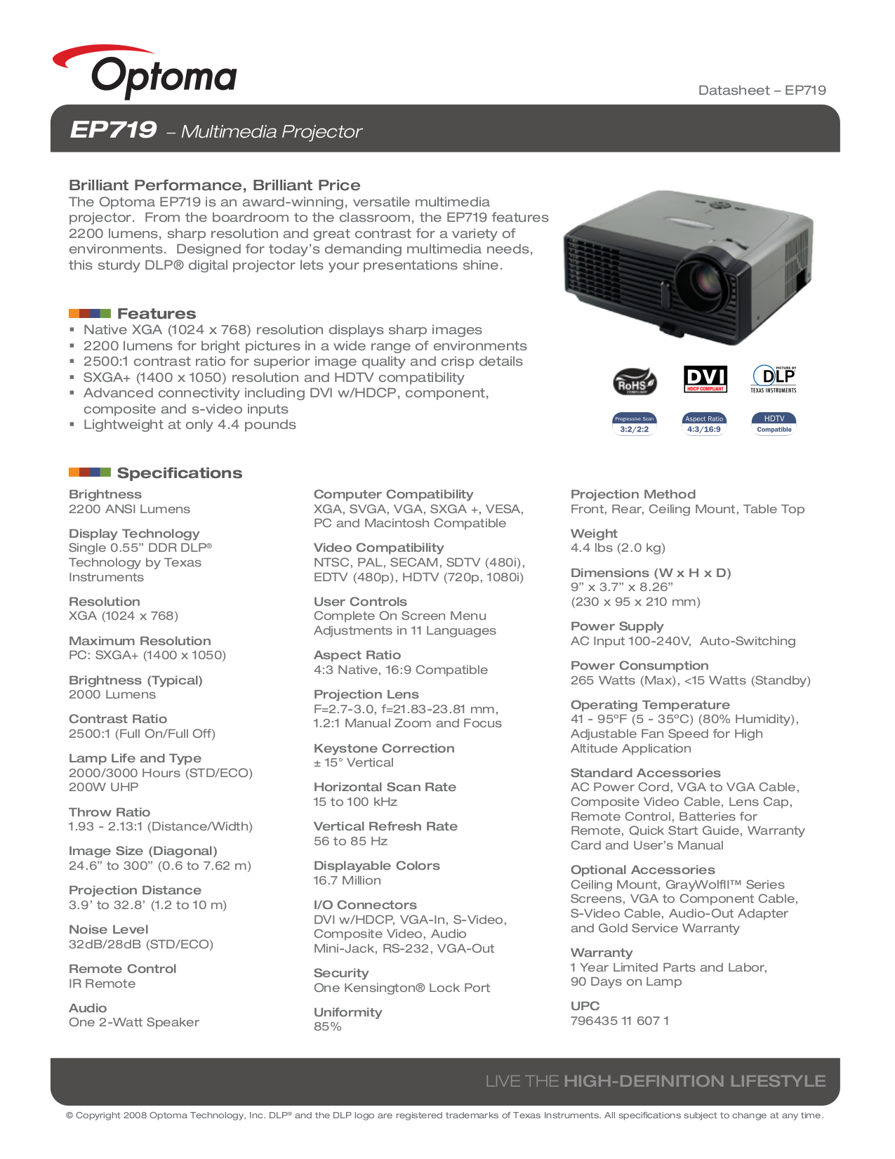 pdf for Optoma Projector EP719 manual