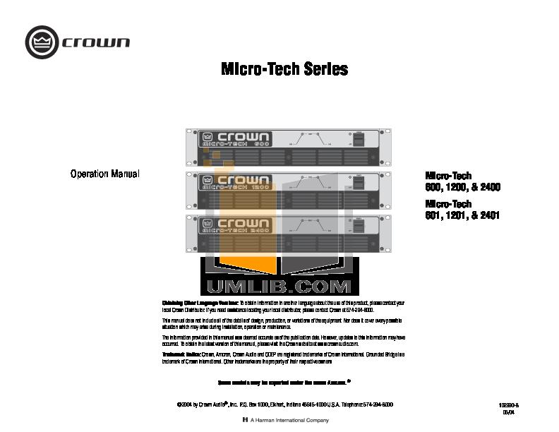crown macro tech 1200 manual