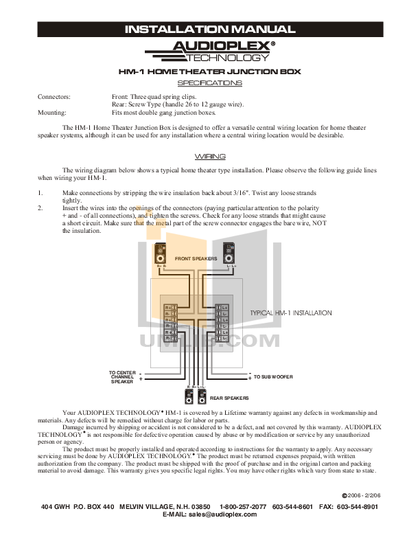 pdf for Audioplex Other HM-1 Speaker Junction Box manual