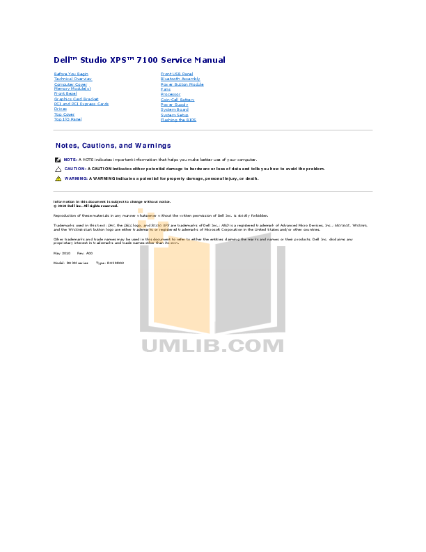 download free pdf for dell studio xps 7100 desktop manual rh umlib com Dell Users Manual Dell Latitude User Manual
