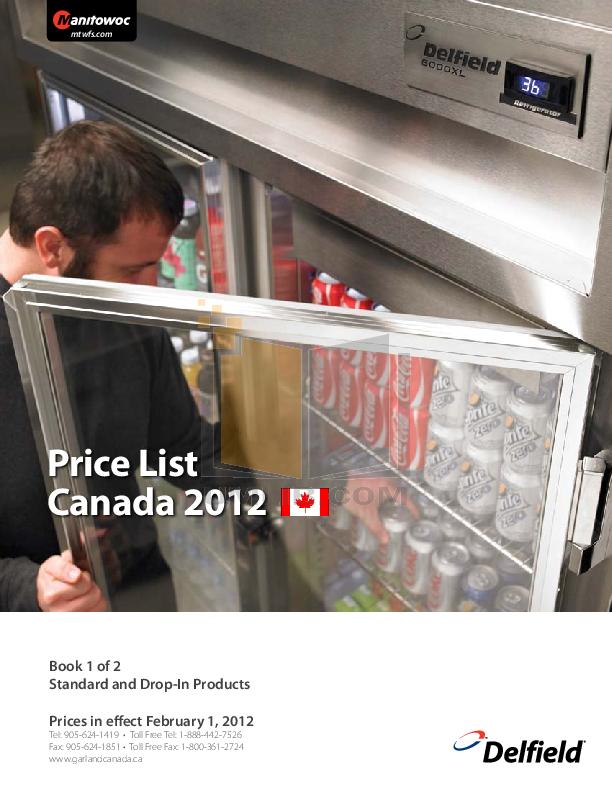 pdf for Delfield Refrigerator SAR2N-SH manual