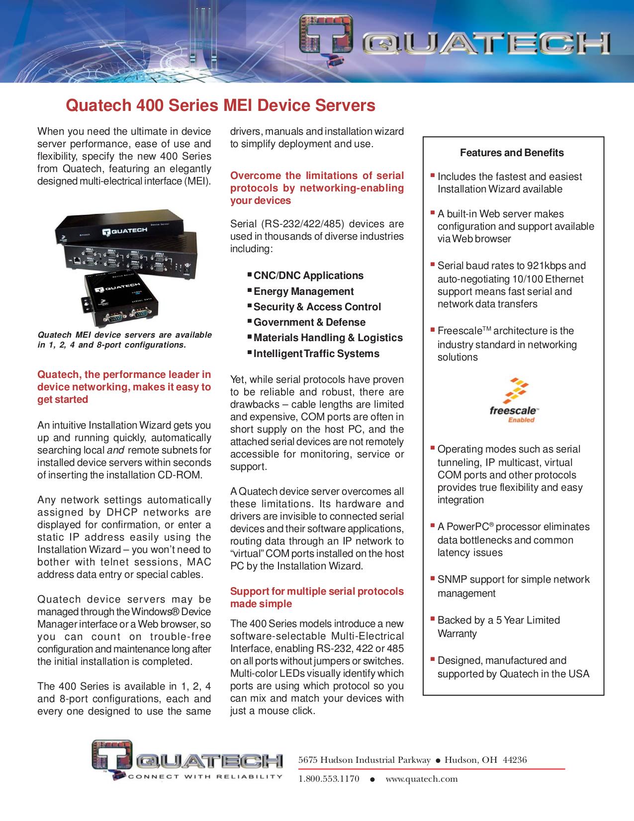pdf for Quatech Other QSE-400D Servers manual