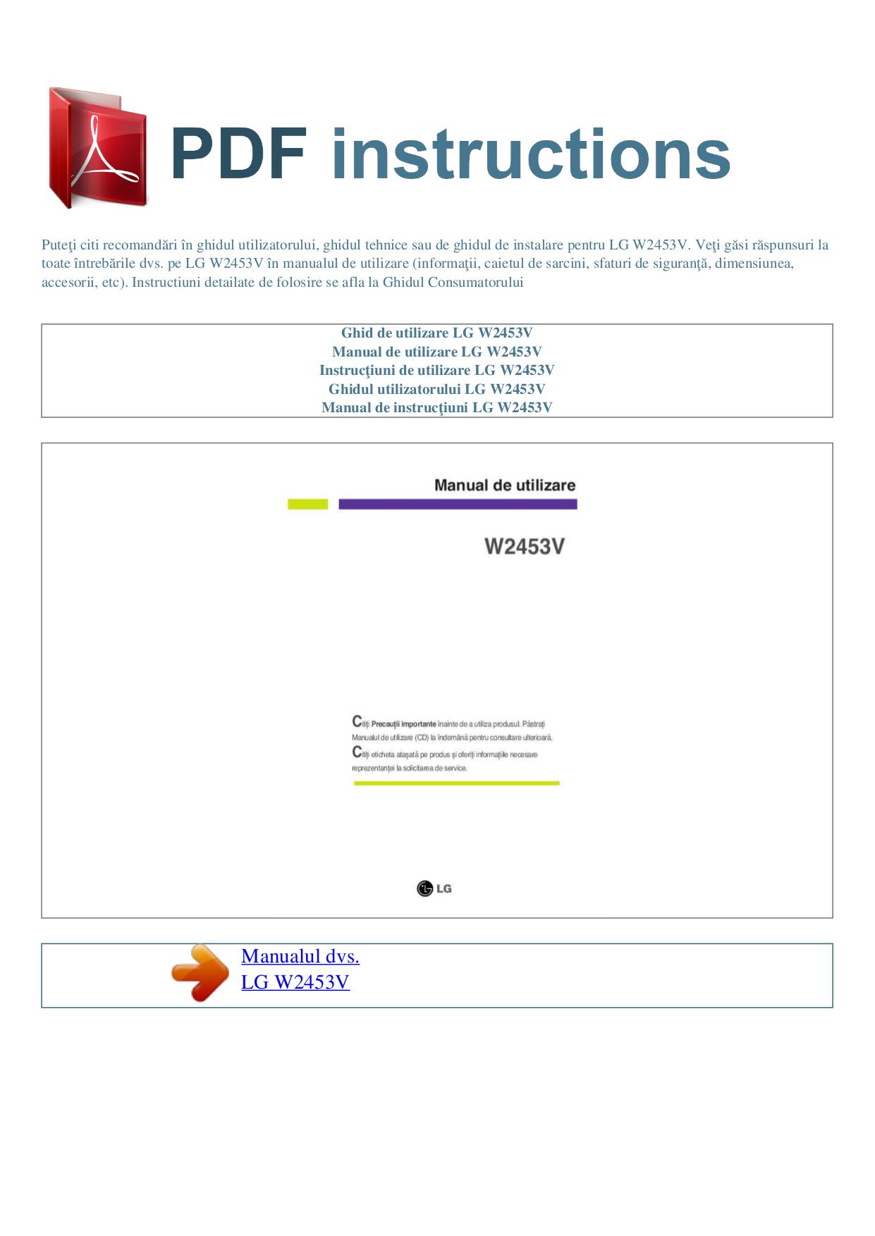 pdf for LG Monitor W2453V manual