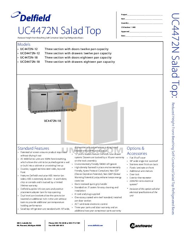pdf for Delfield Refrigerator UC4472N-12 manual
