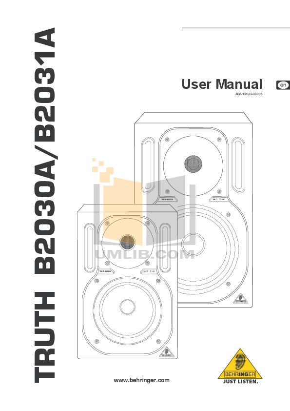 pdf for Behringer Speaker B2031A manual