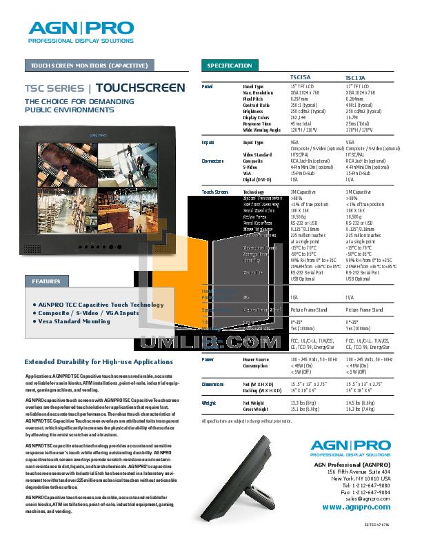pdf for Agnpro Monitor TSC-15A manual