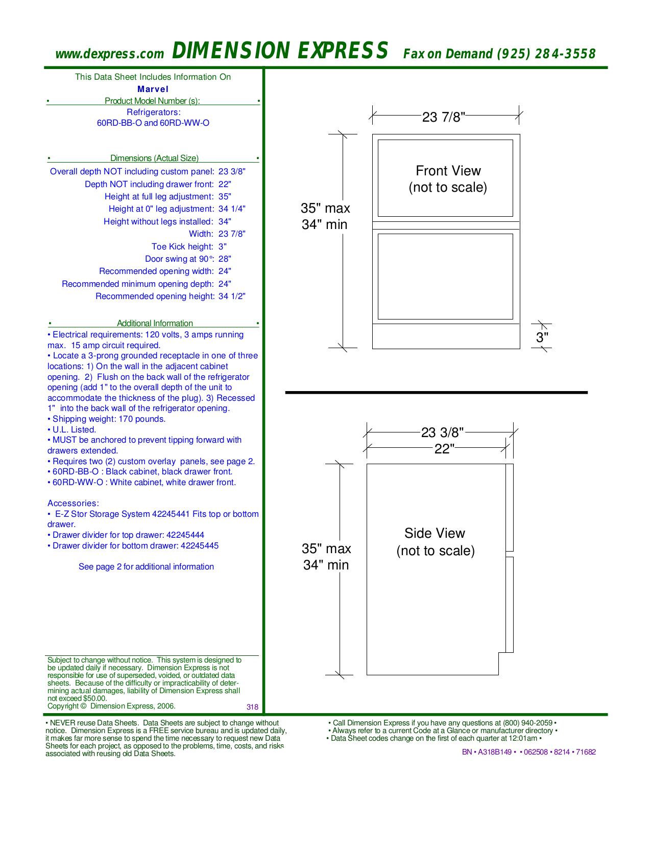 pdf for Marvel Refrigerator 60RD-BB-F manual