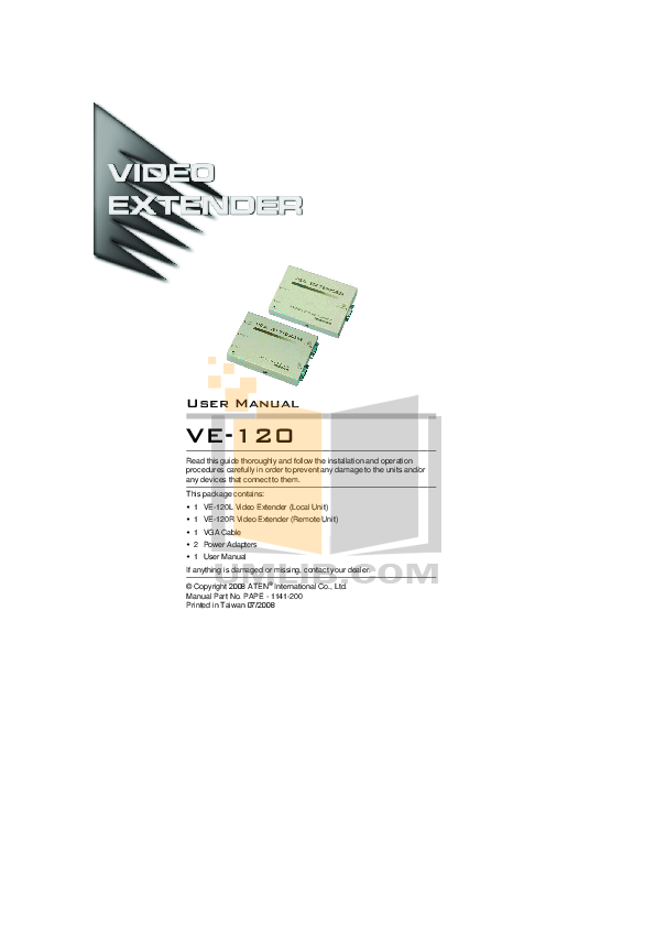 download free pdf for aten ve 120 video extender other manual rh umlib com User Guide Template Example User Guide
