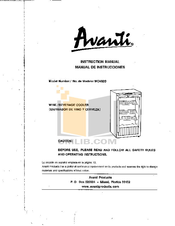 pdf for Avanti Refrigerator WC492D manual
