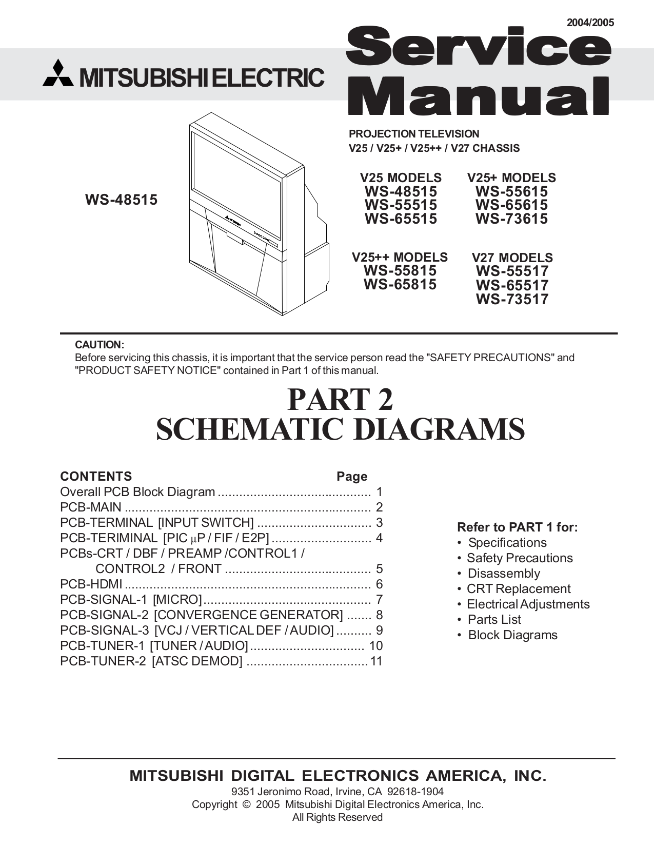 Download Free Pdf For Mitsubishi Ws 65517 Tv Manual Schematic Dlp
