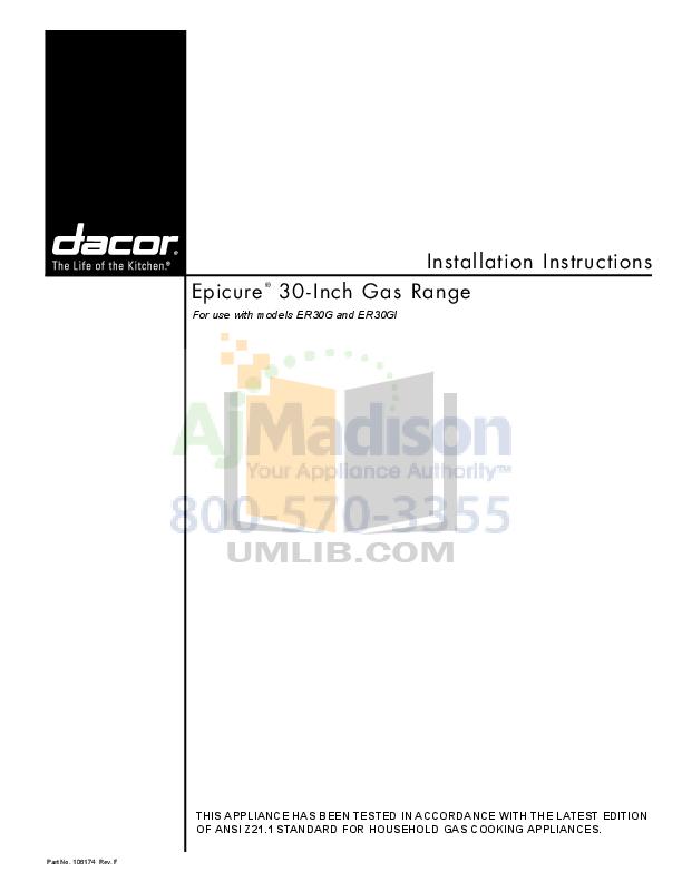 pdf for Dacor Range Epicure ER30GISCH manual