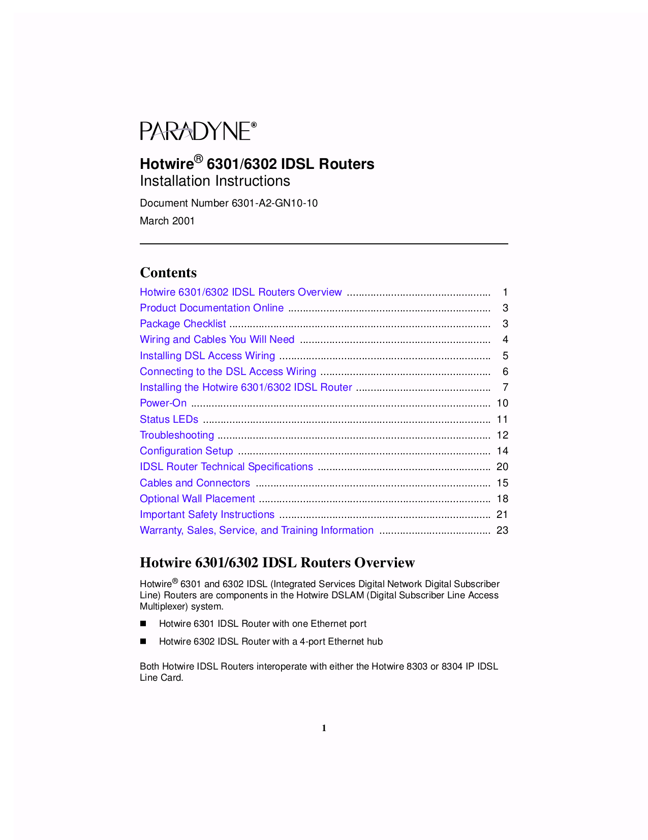 pdf for Zhone Router 6301 manual