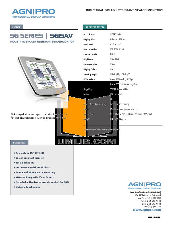 pdf for Agnpro Monitor SG-15AV manual