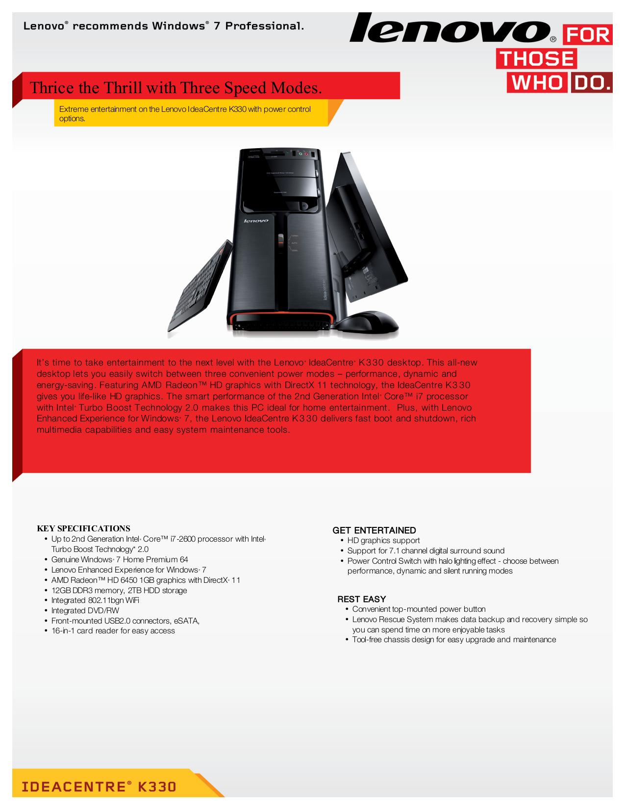 pdf for Lenovo Desktop IdeaCentre K330 7727 manual