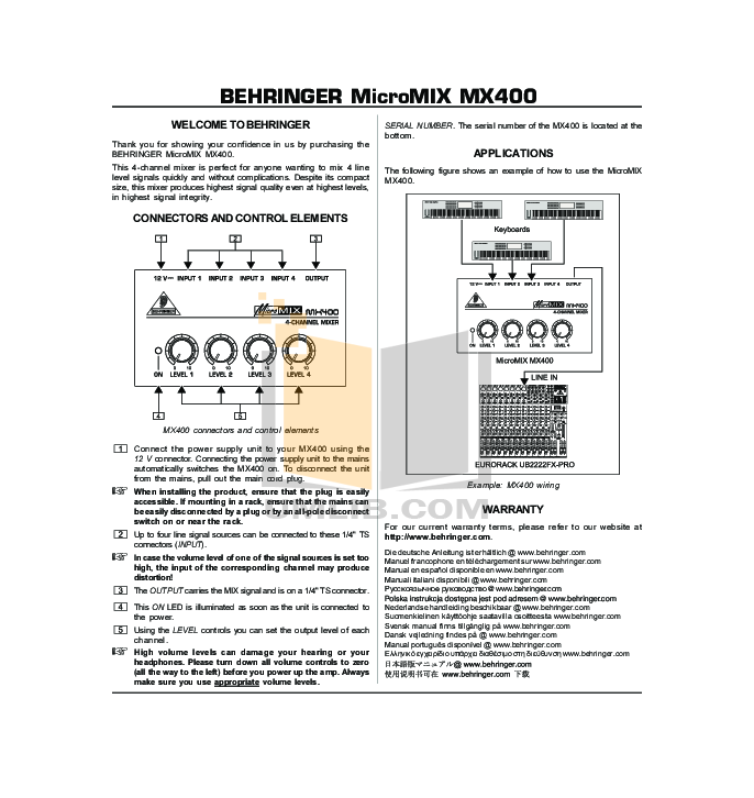 Download free pdf for behringer mx400 mixers other manual.