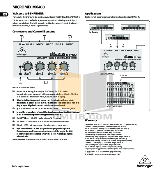 User manual behringer mx-400 micromix four-channel line mixer.