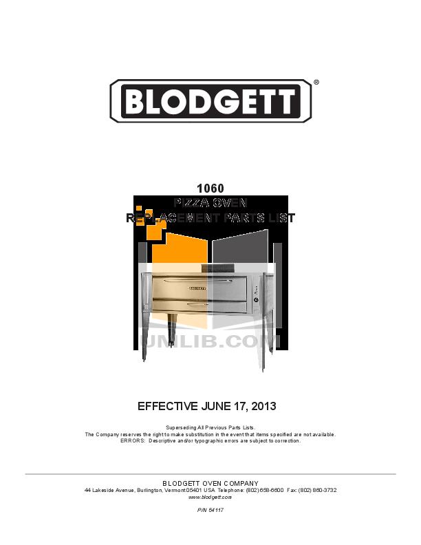 pdf for Blodgett Oven 1060 BASE manual