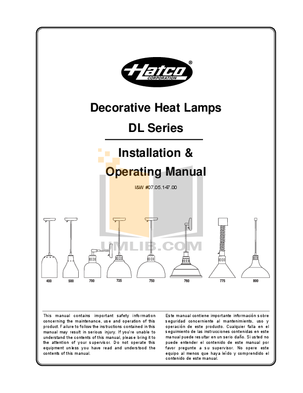 pdf for Hatco Other DL-500 manual
