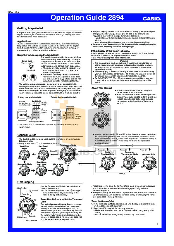 инструкция касио Sgw 100 - фото 6