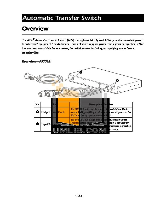 pdf for APC Switch AP7722 manual