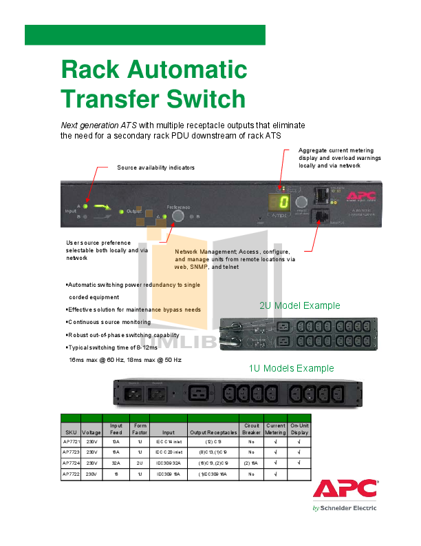 pdf for APC Switch AP7722 manual