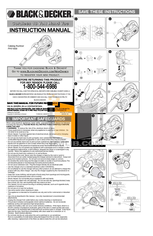pdf for BlackAndDecker Vacuum PHV1800 manual