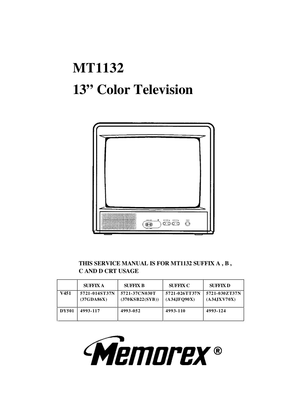 download free pdf for memorex mt1132a tv manual