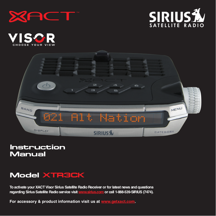 pdf for Xact Satellite Radio Visor XTR3CK manual